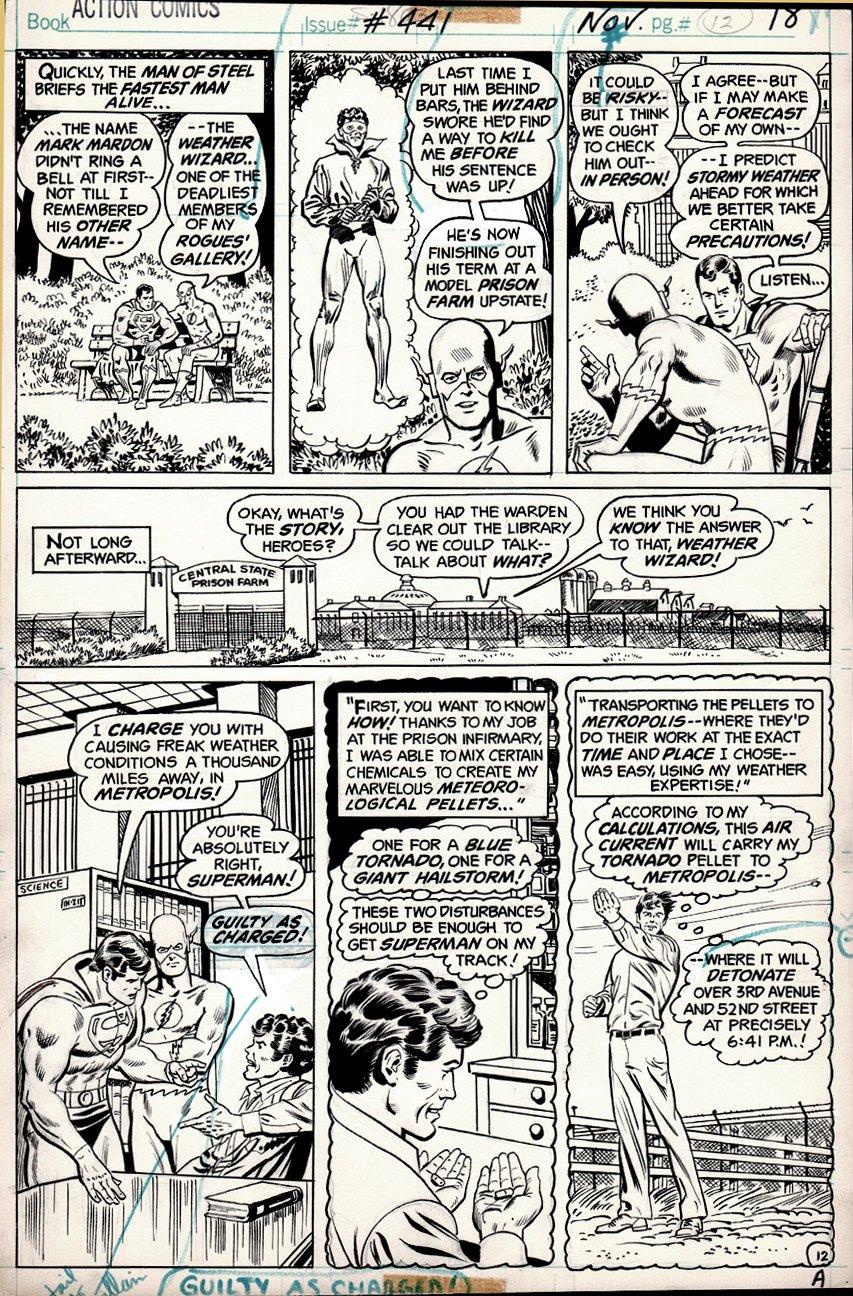 Action Comics #441 p 12 (Flash, Superman, Weather Wizard!) 1974