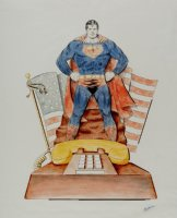 Superman Mixed Media Pinup for Produced Telephone (Very Large) 1980  Comic Art