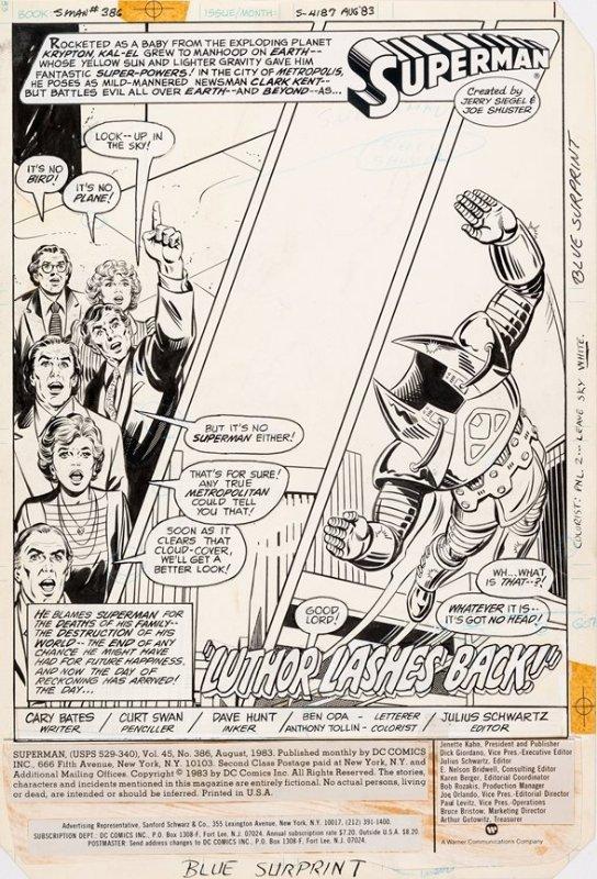 Superman #386 p 1 SPLASH (1983)